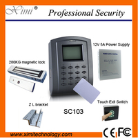 Access Control System Kit SC103 And IC Card,Power Supply,EM Lock,Bracket,Touch Exit Button Smart Door Access Control System