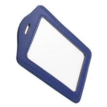 Blue PU Badges Holder ID Card Case Credit Card Vertical Badge