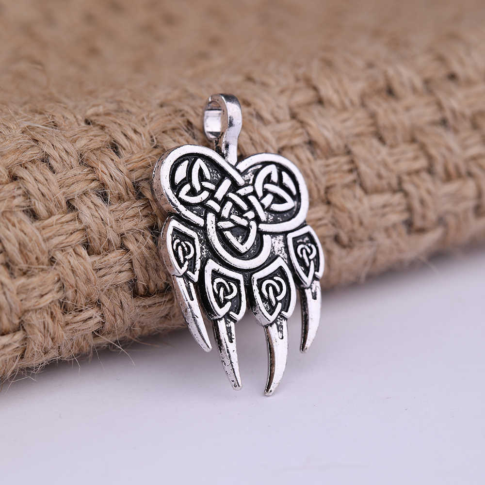 Minima Viking Slavic Pendant for Necklace Veles God Symbol Warding Veles Wolf Paw Talisman Amulet Wicca Charm for Jewelry Making
