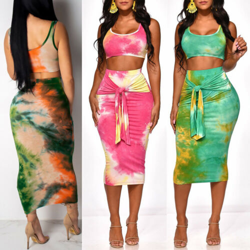 2 Pcs Summer Women  Two-Pieces Outfit Sexy Fit Print  Crop Top Slim Pencil Skirt