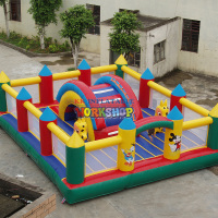 Cartoon model customized inflatable fun city with logo for sale