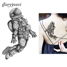 1 Sheet Creative Waterproof Tattoo Paste Paper KM-029 Spaceman Astronaut Pattern Women Men Body Arm Art Temporary Tattoo Sticker