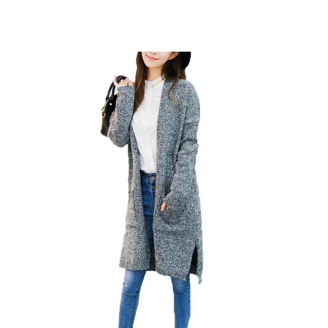 Women Long Gray Cardigan Sweaters 2015 Korea Famous Brand Casual ...