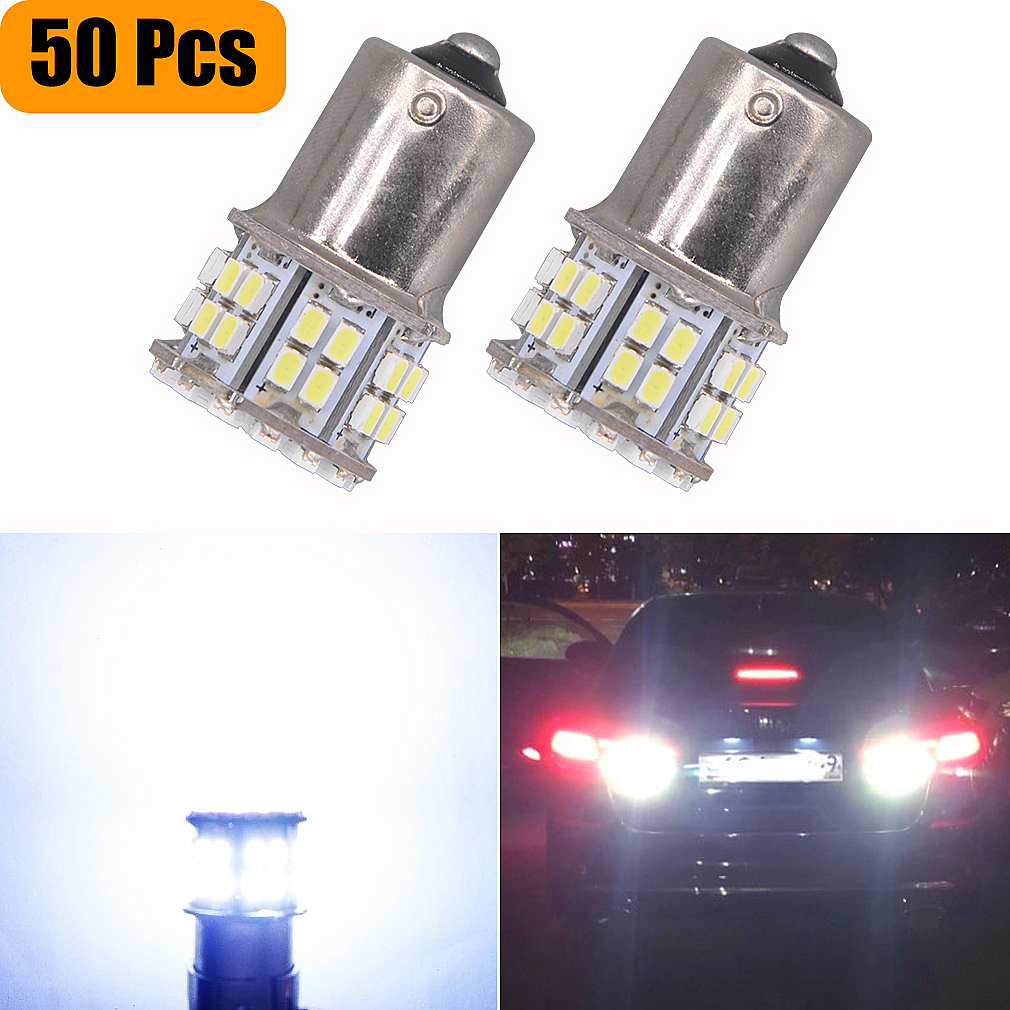 50Pcs Super Bright DC12V S25 BA15S 1156 50 SMD 1206 3020 Turn Signal Tail Backup Lamps LED Reverse Car Auto Lights White Bulbs-in Signal Lamp from Automobiles & Motorcycles    1