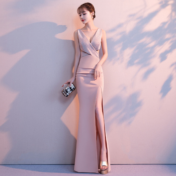 2020 Noble Banquet Gowns Strap V-Neck Slim Evening Dress Elegant Women High Split Cheongsam Marrigahe Gift Sexy Nightclub qipao