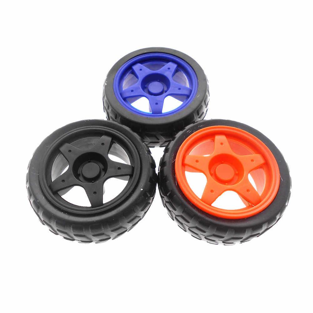 Spielzeug 4WD Smart Auto TT Rad Roboter Reifen Gummi Rad smart auto DIY Rad TT Motor farbe roboter Rad Tracing linie auto zubehör