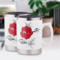 新しいステンレス鋼セラミックコーヒーマグ白い花デザインダブル壁茶カップハンドグリップ付き蓋ホームオフィスマグノベルティギフト