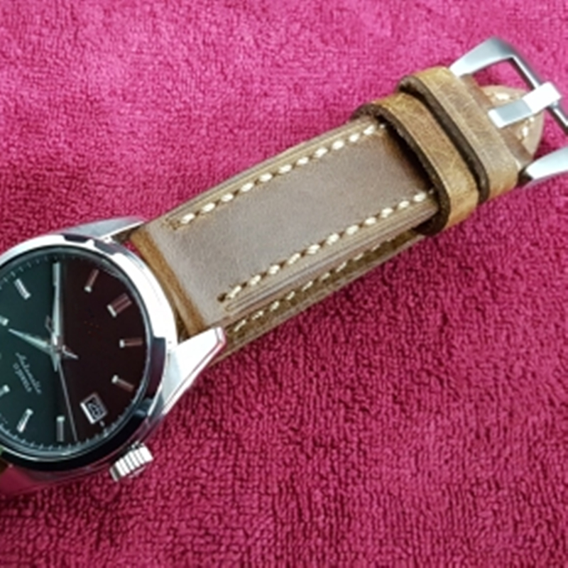 TJP Handmade 20mm 22mm 24mm Vintage Brown Italy Calf Leather Strap Retro Watchband Bracelet For Pam And Big Pilot Sport Watch handmade 22mm 22mm vintage brown black ostrich skin leather strap retro watchband for kelpy pilot watch