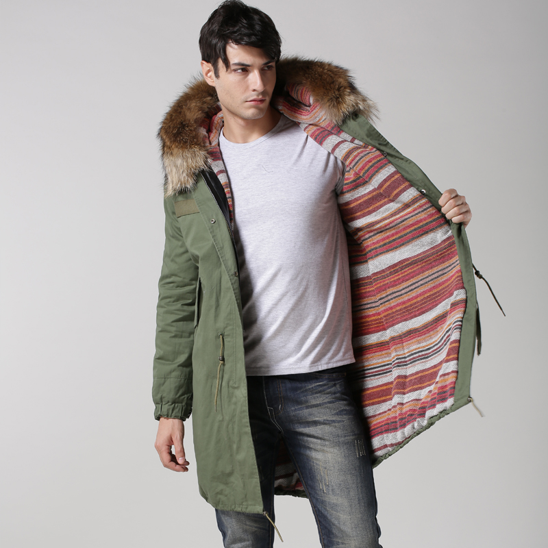 Hoodies Parka Down-Fur-Jacket Top-Selling Mens Long Red-Fur Lined Raccoon Cashmere Natural
