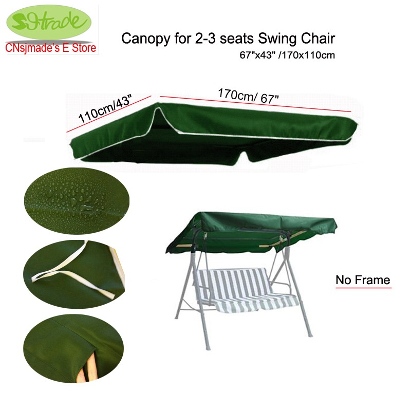 "Canopy for 2-3seats Swing chair 67 ""x43"" / 170x110cm, Reemplazo del dosel de tela de poliéster de color verde oscuro, Tamaño personalizado disponible"