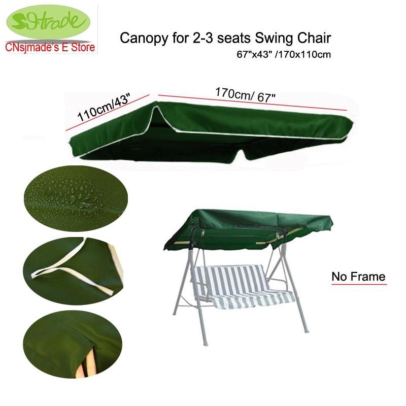 """Luifel voor 2-3 plaatsen Swing stoel 67 """"x43"""" / 170x110cm, Donkergroene polyester luifel vervanging, aangepaste grootte beschikbaar"""