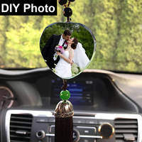 Personalized Photo DIY Car Decoration Ornaments Customized Pictures Image Crystal Pendant With Tassel Automobile Car Accessories