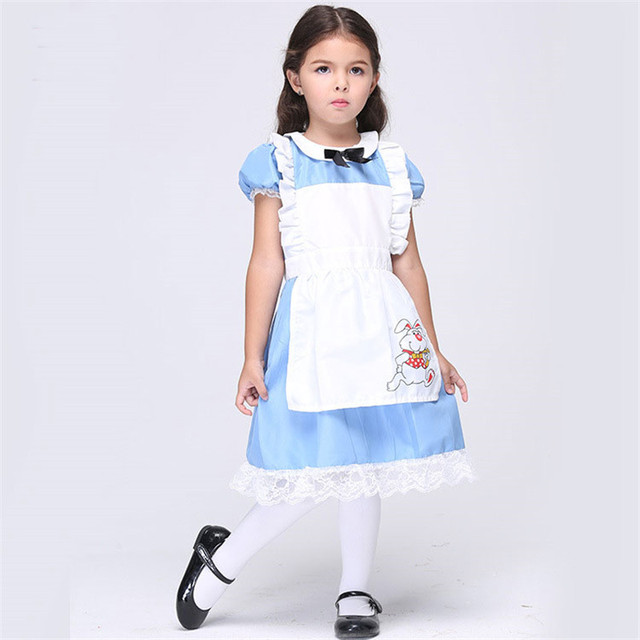 1f0d0910fc11 Mode Nouvelle Femme de Chambre Cosplay Robe Pour Littlr Filles Solide Alice  au Pays Des Merveilles