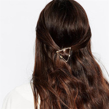 Korean Simple Women Geometric Hollow Triangle Hairpin Gold Sliver Color Metal Hair Clip Accessories