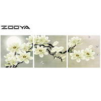 ZOOYA DIY Full Diamond Embroidery Painting Cross Stitch Triptych Paintings Paintings From Crystals White Flower Butterfly