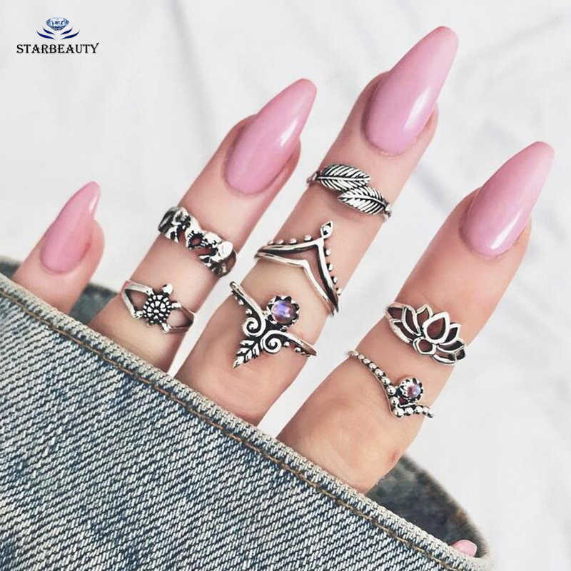 7pcs/set Fashion Vintage Punk Midi Rings Set 2017 Antique Gold Silver Boho Female Charms Jewelry Knuckle Ring For Women Man