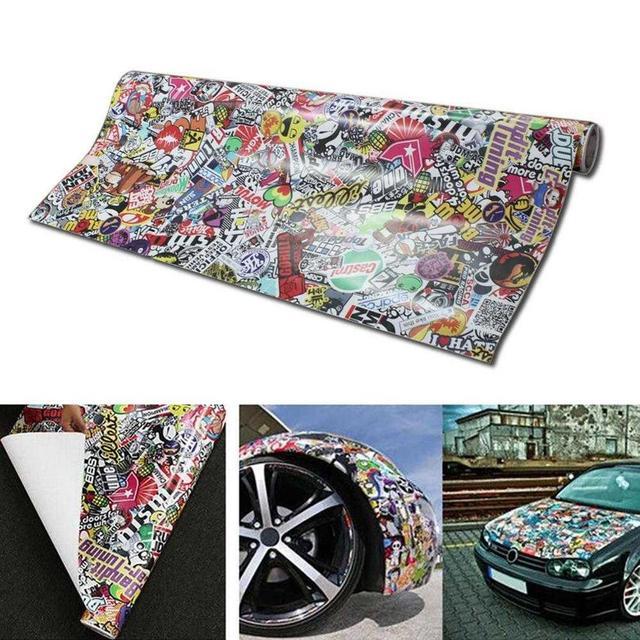 Panda Cartoon Graffiti Car Sticker Bomb Wrap Sheet Decal Sticker New