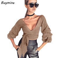 Bandage Sash Warm Knitted T Shirt Women Deep V Sexy Skinny Club Crop Top Exclusive Puff Sleeve Knitted Cropped T Shirt Blusas XL