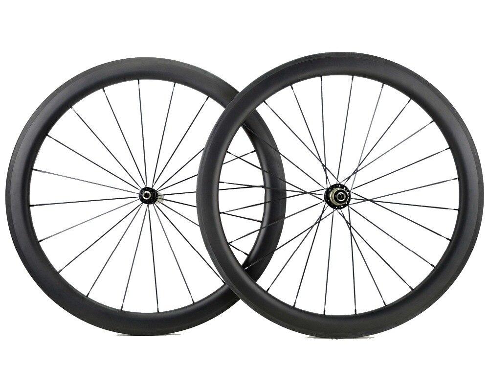 700C ruote 25 millimetri di larghezza 50 millimetri di profondità bici della Strada del carbonio della graffatrice della bicicletta/Tubolare wheelset del carbonio a forma di U cerchio Personalizzabile decalcomanie