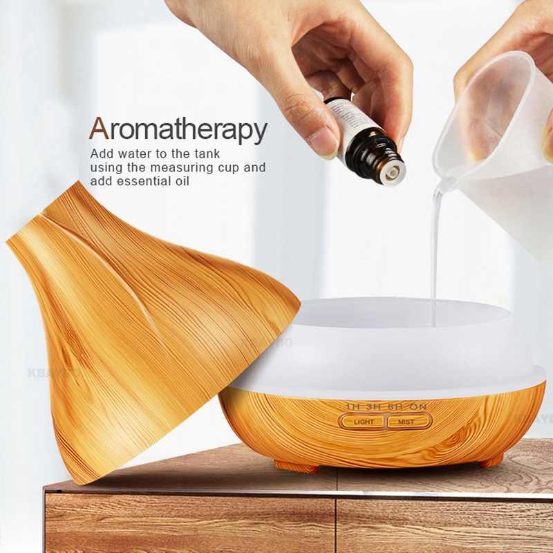 Humidificateur d'air ultrasonique de diffuseur d'huile essentielle d'arome de 300Ml à télécommande avec le lampe à LED de diffuseur d'aromathérapie de Grain en bois pour