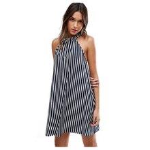 Для женщин летнее платье черно-белый полосатый спинки сексуальное платье с открытыми плечами Холтер Европейская мода трикотажные Платья для женщин Для женщин s