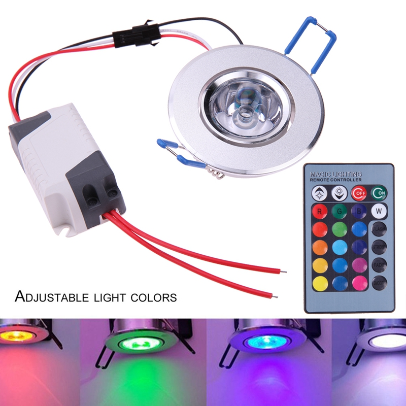 3W Colorful Ceiling Downlight AC 85-265V Remote Control Led Ceiling Spot Light Lamp RGB Aluminum Colorful Lighting Night Light us plug 3w rgb revolving led light yellow white ac 85 265v