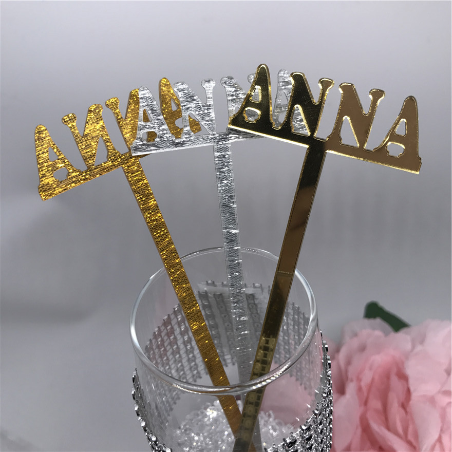 Name Stir Sticks Personalized, Wedding Bachelorette Bridal Baby Shower Party Drink Stirrer Bar Swizzle Names Decor or Gold ...
