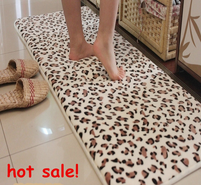 Animal Print Bath Rug: 45*120cm Bathroom Products Memory Foam Mats Slip Resistant
