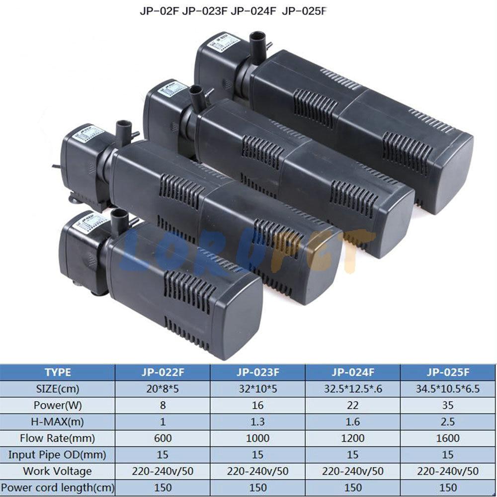 1000 l h aquarium fish tank powerhead jp 023 - Sunsun 8 16 22 35 W 3 In 1 Aquarium Fish Tank Internal