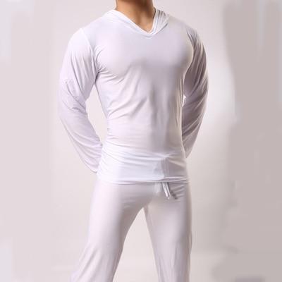 Satin Sleepwear For Men Casual Ice Silk Pajamas Top Comfortable Sleepwear Pyjamas Top Loungewear Sexy Nightwear Fits All Seasons