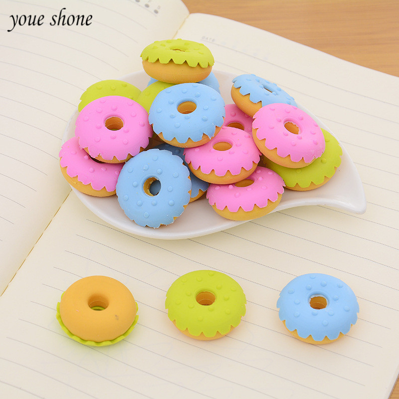 6pcs/lots Cute Erases Mini Soft Bullet Rubber Donut Eraser For Pencil Cute Stationery Student  Learning Stationery Gift Prize