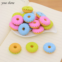 6pcs/lots cute erases mini soft bullet rubber donut eraser for pencil kawaii Stationery student  Learning Stationery Gift Prize