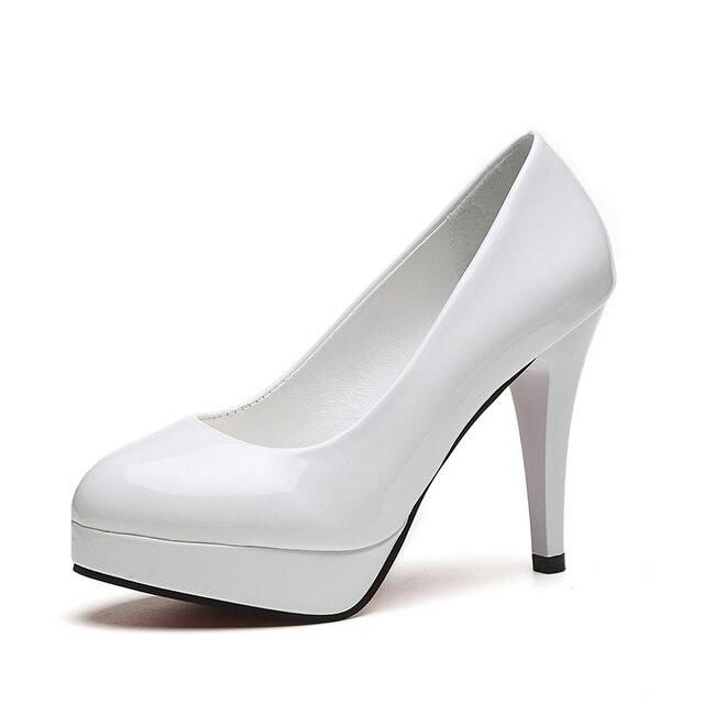 Nuovo 10 cm tacco alto sexy della piattaforma a spillo scarpe da donna testa rotonda bocca superficiale set versione Coreana di vernice in pelle di alta tacchi