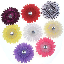 MYPF-8 x Clips Hair Pins with Daisy Flower and Rhinestone for Girls