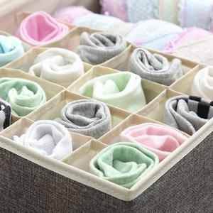 Image 5 - 17 Grid Underwear Holder Bra Travel Ser Organizer Cotton And Linen Closet Organizers Boxes Clothes Storage Bag High Capacity Box