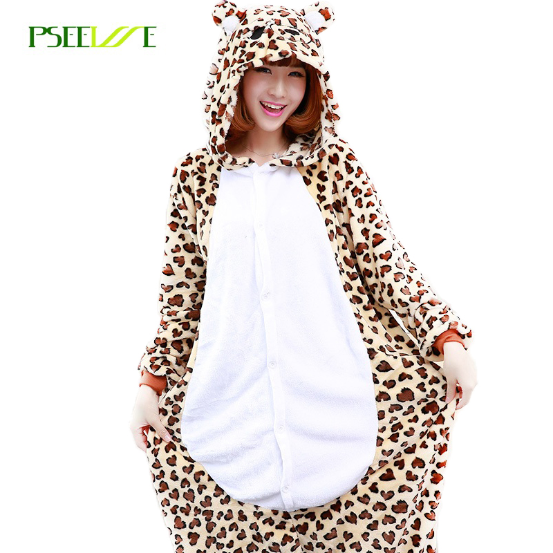 Animal Adult leopard onesie Flannel Cosplay Kostume Pyjamas Jumpsuit Leopard Pyjamas Dyr Kostume Warm Cartoon Sleepwear
