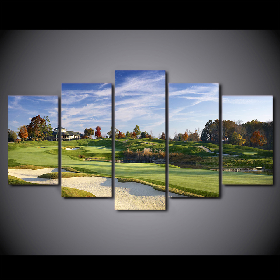 5 Pieces HD Printed Canvas Art Green Grass Golf Sports Field Painting Decor Pictures Wall Art For Living Room Wall Poster