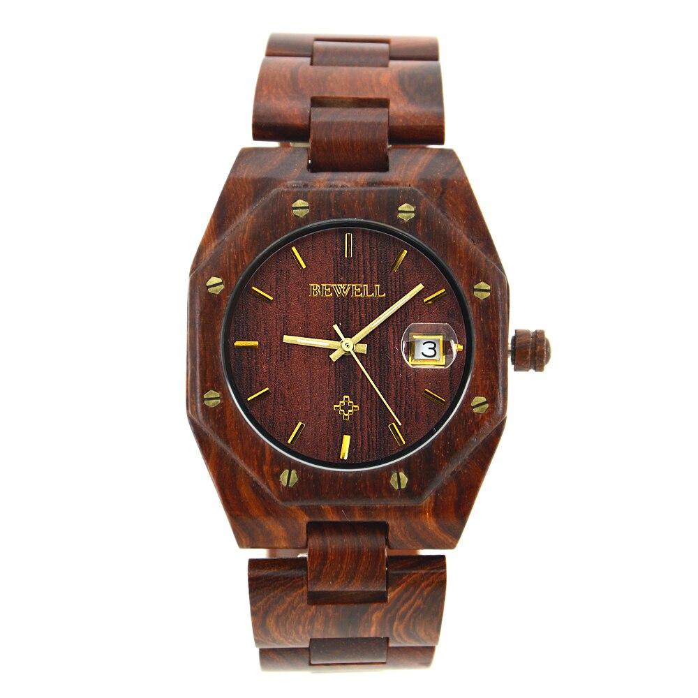 BEWELL Watches Men Luxury Brand Men Sandalwood Watches Waterproof Full Quartz Gothic Men s Wristwatch Relogio
