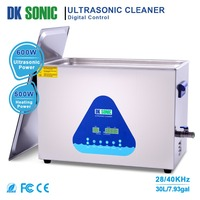 DK SONIC Large Ultrasonic Carburetor Cleaner 30L600W Lab Ultrasonic Gun Heater Timer Bath for Parts Hardware Golf Clubs 28/40KHz