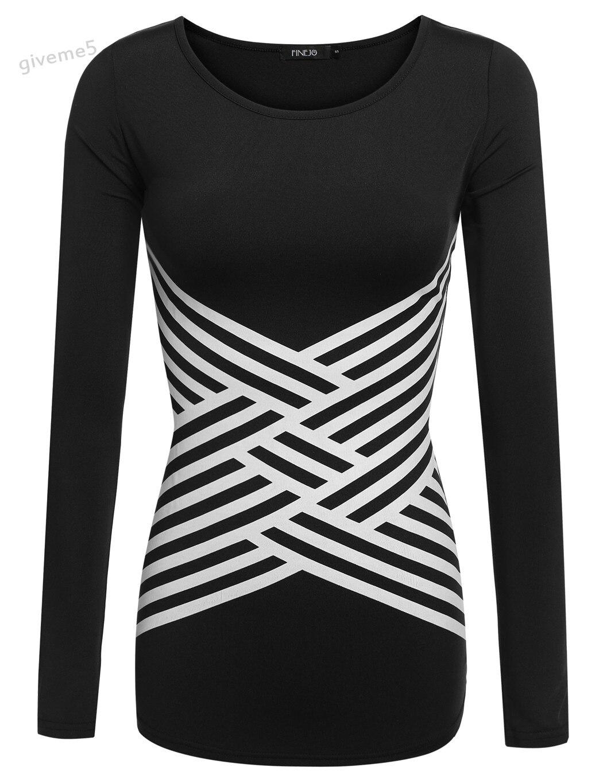 808f4f67c5dc brand Women Fashion Cross Stripe Printed Stretch Round Neck Long Sleeve T  Shirt Top White Black S-XXL