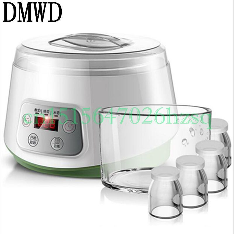 DMWD 220V 20W Multifunctional Household Electric yogurt/Natto/Rice wine maker Glass liner Mini  Automatic Yogurt Machine Kitchen