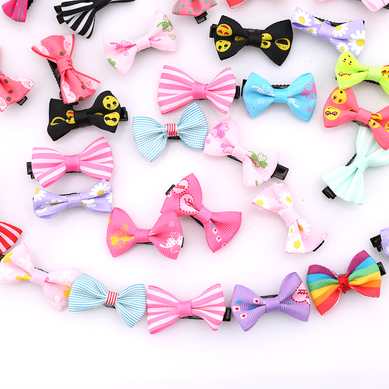 20/50pcs/pack Sweet Girl Mixed Color Bowknot Kids Baby Children Hair Clip Bow Pin Barrette Hairpin Ornament Accessories For Girl