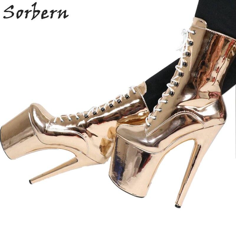 Sorbern 샴페인 발목 부츠 폴 댄스 하이힐 부츠 숙녀 20 cm 스파이크 발 뒤꿈치 신발 레이스 섹시한 페티쉬 신발 사용자 정의 색상-에서앵클 부츠부터 신발 의  그룹 1