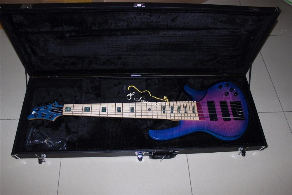 Livraison gratuite 6 Cordes éclat violet Couleur flamme d'érable active Basse Électrique Guitare