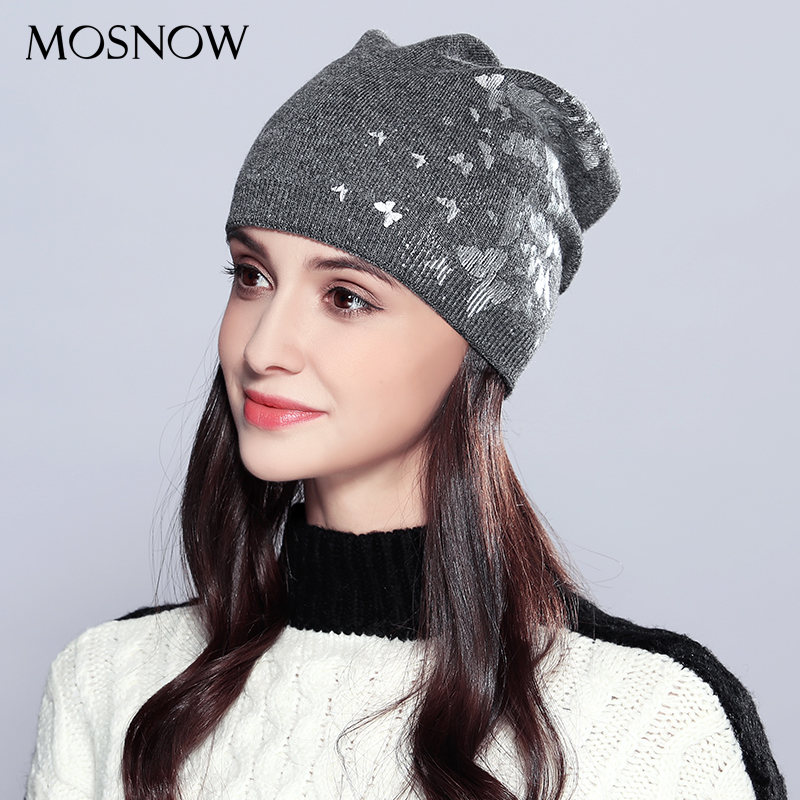 MOSNOW Wool Women Hat Female Autumn Winter Lovely Brand New Butterflies Decoration 2018 Women's Hats   Skullies     Beanies   #MZ717