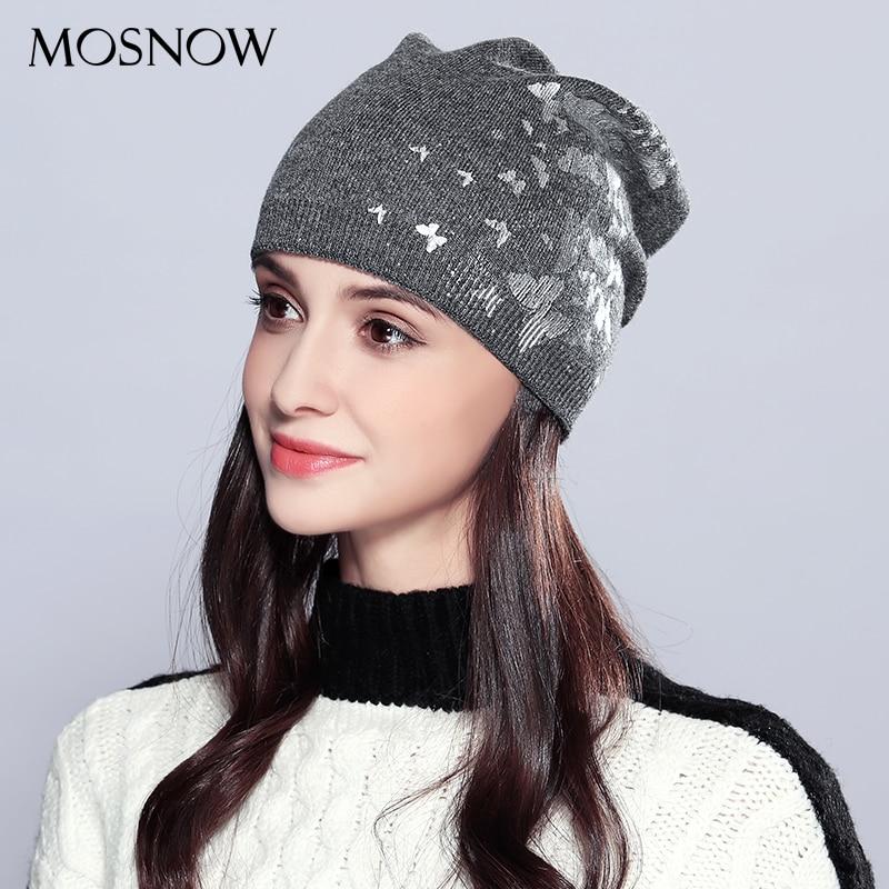 Wool Women Hat Female Autumn Winter Lovely Brand New Butterflies Decoration 2019 Women's Hats Skullies Beanies  #MZ717