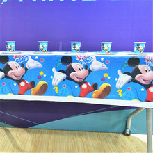 22pcs/set Mickey Mouse Theme Birthday Party Supplies Cups Plates Flag Tablecloth Kids Decoration