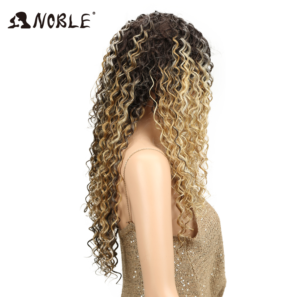 Noble 30 Inches Synthetic Curly Wigs For Black Women Blonde Brown Colors Long Afro Kinky Curly Hair Middle Part Lace Front Wig