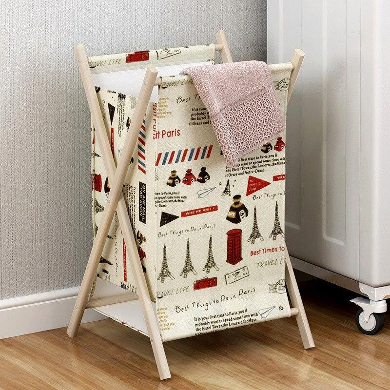 Grote wasmand Opvouwbare stevige houten linnen tas Home Clothes - Home opslag en organisatie