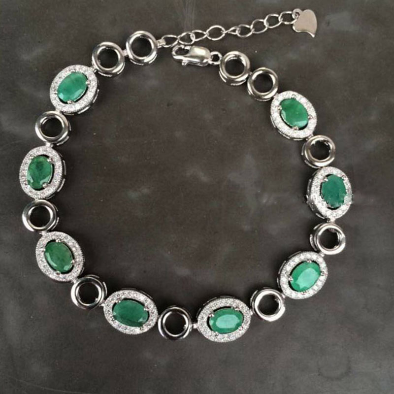2017 Rushed New Qi Xuan_Fashion Jewelry_Colombia Green Stone Bracelets_S925 Solid Silver Green Bracelet_Factory Directly Sales 2017 rushed qi xuan red stone bangles